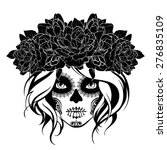 skull girl in a flower wreath.... | Shutterstock .eps vector #276835109