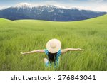 back view of happy woman with... | Shutterstock . vector #276843041