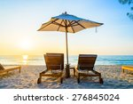 beach bed with sun flare...   Shutterstock . vector #276845024
