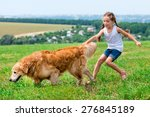 Stock photo little girl walks on the leash with a golden retriever 276845189