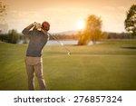 male golf player swinging club... | Shutterstock . vector #276857324