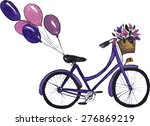 City Bicycle With Basket Of...