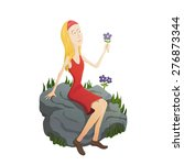 girl and flowers | Shutterstock .eps vector #276873344