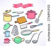 cute set with kitchen utensils. ... | Shutterstock .eps vector #276891935