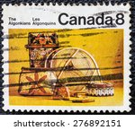 Small photo of CANADA - CIRCA 1973: Postage stamp printed in Canada, shows artifacts of the indigenous people of North America - Algonquian, circa 1973