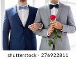 Stock photo people homosexuality same sex marriage and love concept close up of happy male gay couple with 276922811