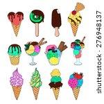 set of ice cream. melting ice... | Shutterstock .eps vector #276948137