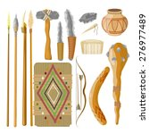 large set items ancient people... | Shutterstock .eps vector #276977489