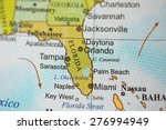 map view of florida on a... | Shutterstock . vector #276994949