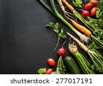 young spring vegetables on... | Shutterstock . vector #277017191