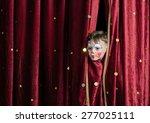 young boy wearing clown make up ... | Shutterstock . vector #277025111