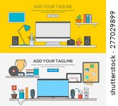 set of flat line banner design... | Shutterstock .eps vector #277029899
