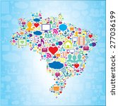 brazil map with icons of social ... | Shutterstock .eps vector #277036199