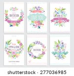 romantic floral hand drawn card ... | Shutterstock .eps vector #277036985