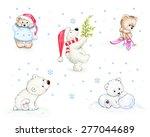 set of christmas teddy bears   | Shutterstock . vector #277044689