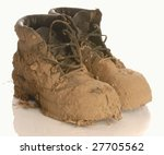 muddy work boot isolated on a...