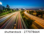 light trails from vehicles on... | Shutterstock . vector #277078664