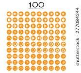 100 basic arrow sign icons set...