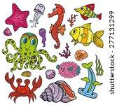 sea life animals set  fish  ... | Shutterstock .eps vector #277131299