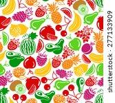 seamless pattern vector fruits... | Shutterstock .eps vector #277133909