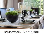 elegant table set in modern... | Shutterstock . vector #277148081