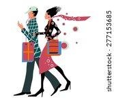shopping couple vector... | Shutterstock .eps vector #277153685