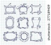 set of doodle frames on a... | Shutterstock .eps vector #277189409