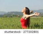 woman breathing deep fresh air...   Shutterstock . vector #277202801