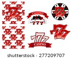Stock vector colorful red casino and gambling designs and badges with lucky numbers as seamless patterns 277209707