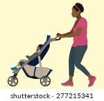 young black mother pushing... | Shutterstock .eps vector #277215341