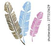 watercolor vintage feathers set ... | Shutterstock .eps vector #277215629