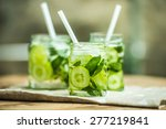 three retro glass jars of... | Shutterstock . vector #277219841