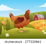 Hen Standing On Grass With Far...