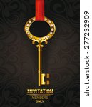 invitation card with gold key... | Shutterstock .eps vector #277232909