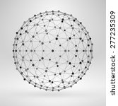 3d sphere with lines and dots.... | Shutterstock .eps vector #277235309