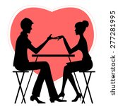 Silhouette Of Couple In Caf  ...
