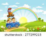 family traveling in the car ... | Shutterstock .eps vector #277299215
