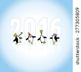 Four Happy Party Penguins...