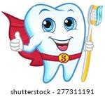 Superhero Tooth Holding A...