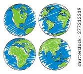 earth hand sketch cartoon vector