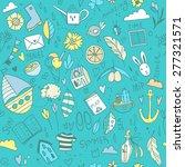 vector summer travel pattern... | Shutterstock .eps vector #277321571