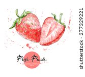 strawberry watercolor... | Shutterstock .eps vector #277329221