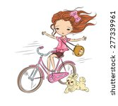 Stock vector girl on pink bike with puppy pink mood hand drawn vector illustration 277339961