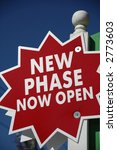 """Realty Sign """"New Phase Open"""" - stock photo"""