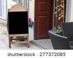 empty menu blackboard standing... | Shutterstock . vector #277372085