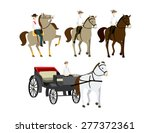 cowboy horse riding carriage... | Shutterstock .eps vector #277372361
