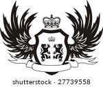 grunge retro shield with wings | Shutterstock .eps vector #27739558
