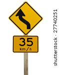 a road sign indicating a bend... | Shutterstock . vector #27740251
