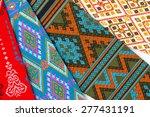 a collection of thai silk. thai ... | Shutterstock . vector #277431191