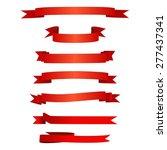 red ribbon set | Shutterstock .eps vector #277437341